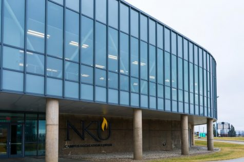 The exterior of the campus recreation center on the campus of Northern Kentucky University.