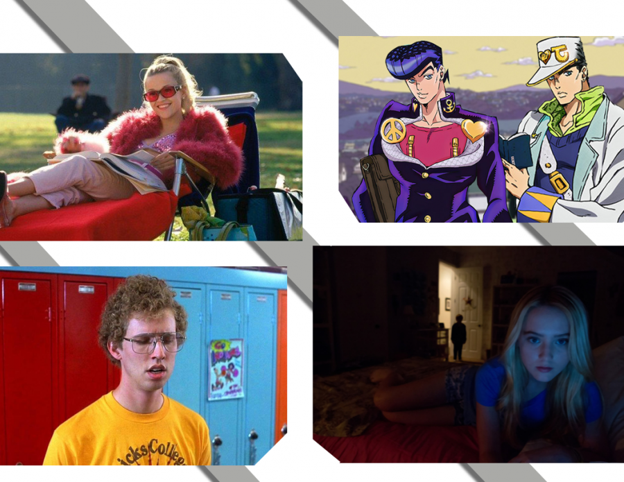 Top: Legally Blonde, Jojo's Bizarre Adventure. Bottom: Napoleon Dynamite, Paranormal Activity 4.