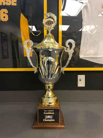 A trophy used by the NKU volleyball team.