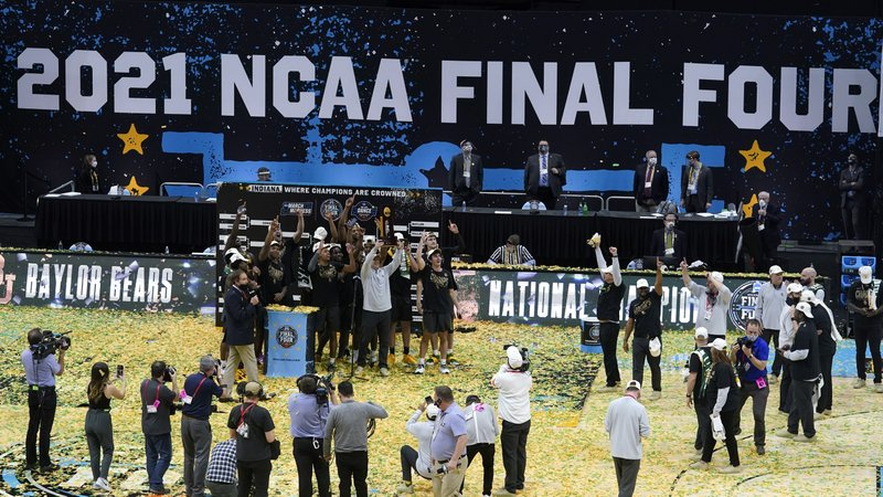 Members of the Baylor men's basketball team celebrate a National Championship game win over Gonzaga on Monday, April 5. The Bears won the 2021 championship over the Bulldogs, 86-70.