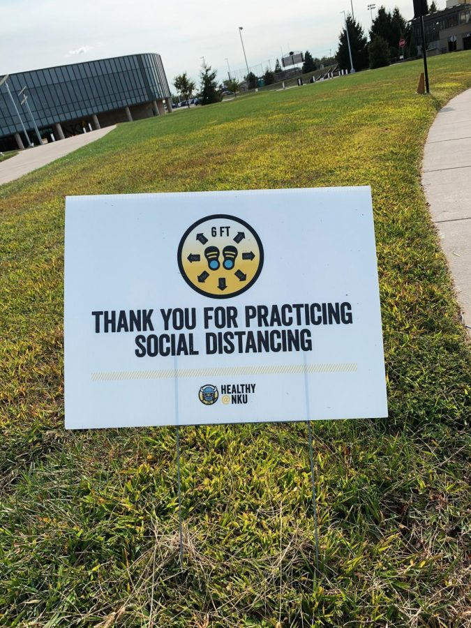 """Thank you for practicing social distancing"" sign in front of the Rec Center."