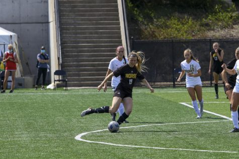 Kailey Ivins with the ball against Wright State on Monday. Ivins scored the go-ahead goal on her Senior Day in the 2-0 victory.