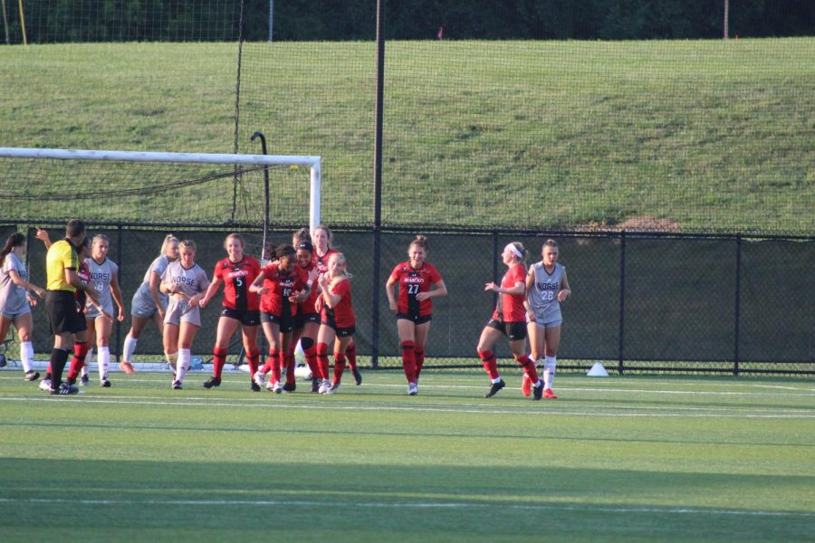 Cincinnati players celebrate after a goal during the Bearcats 2-1 victory over the Norse on Thursday.