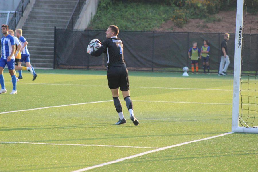 Kentucky goalkeeper Jan Hoffelner (1) prepares to send the ball away in Kentuckys win over NKU on Friday night.