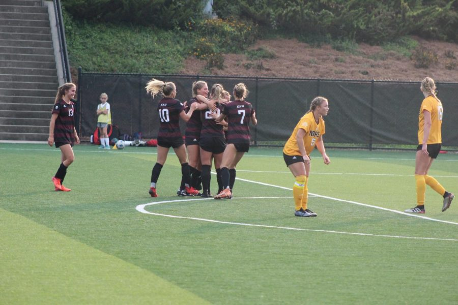 Eastern Kentucky celebrates a goal in the first half against NKU on Sunday.