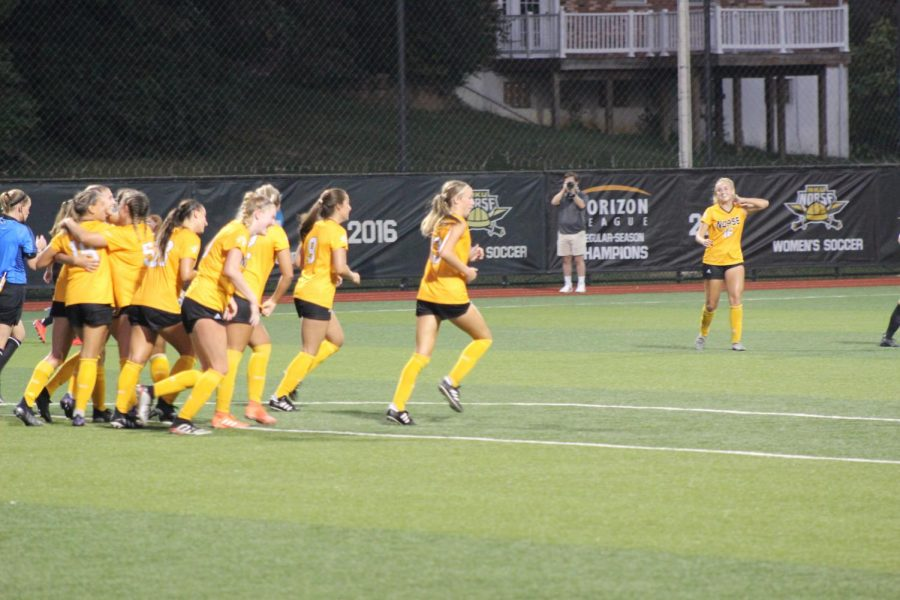 Northern Kentucky players celebrate a goal by Sofia Wilmes during the Norse 2-1 win over Eastern Kentucky on Sunday.