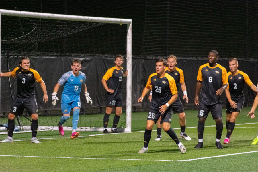 NKU mens soccer players get organized in the box during the Norse 3-0 win over Centre.