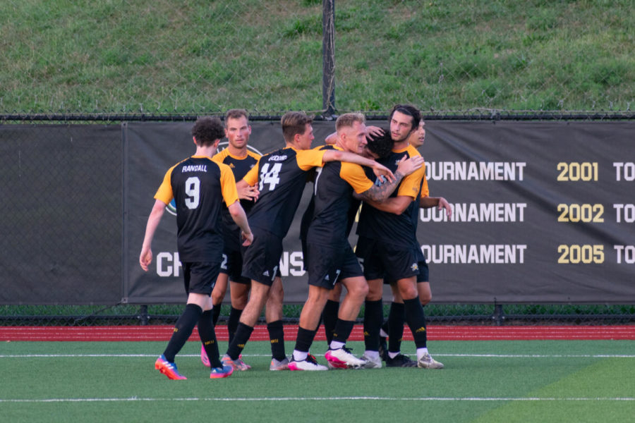 NKU players celebrate a goal during the Norse 3-0 win over Centre on Saturday at NKU Soccer Stadium.