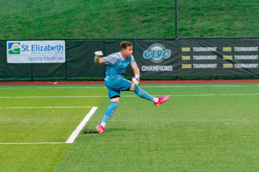 NKU goalkeeper Daniel Bermingham sends the ball toward midfield during NKUs win over Centre on Saturday.