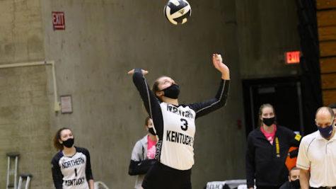 NKU senior outside hitter Anna Brinkmann (3) serves the ball during a previous game.