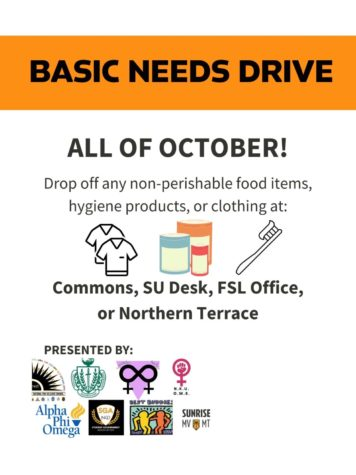 Basic Needs Drive flyer which will occur all throughout Oct. until drop-off on Oct. 29. Non-perishable food, hygiene products or clothing
