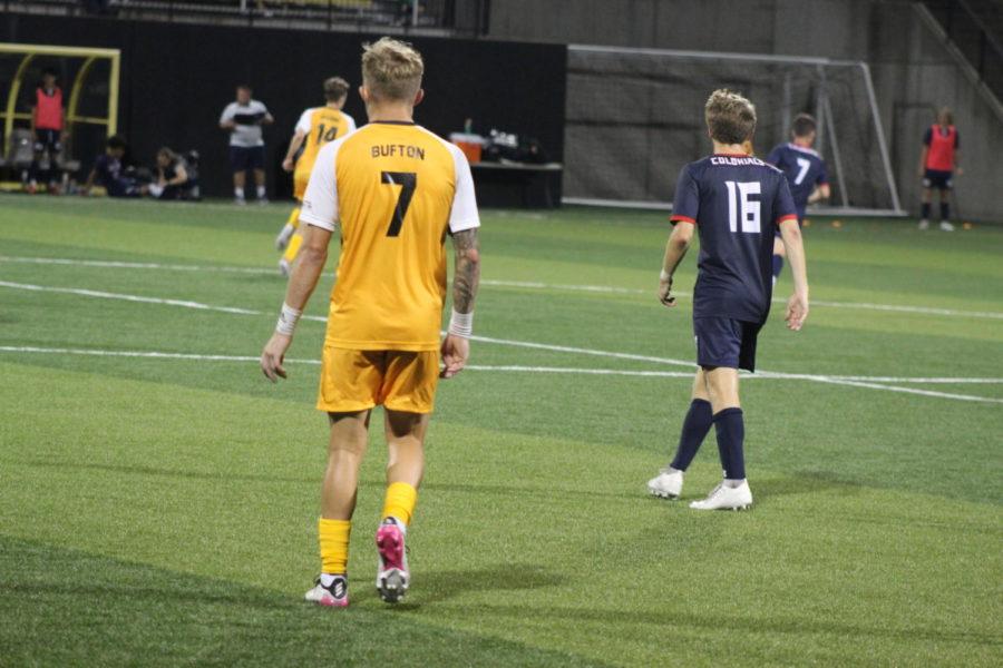 NKU forward Dylan Bufton (7) looks down the field during NKUs 1-0 loss to Robert Morris on Saturday.