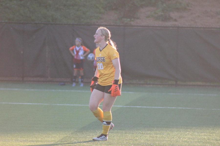 NKU goalkeeper Mimi Stines helps direct her teammates during NKUs win over Detroit Mercy on Thursday night.