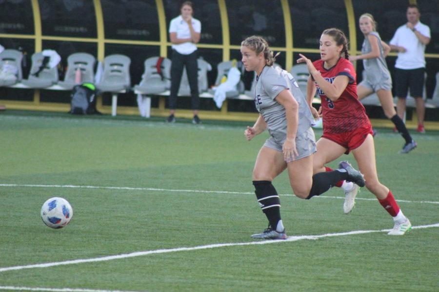 NKU midfielder Ashleigh Cronin (5) goes for the ball during NKUs 1-0 win on Thursday night.