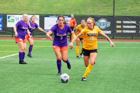 NKUs Lindsey Meyer (14) chases down the ball against Evansville. Meyer scored the Norse lone goal of the match on Sunday.