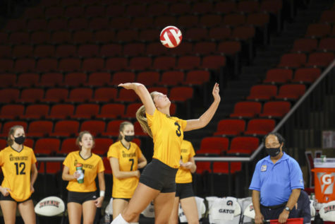 Anna Brinkmann (3) during a previous match for NKU. Brinkmann leads the Norse in kills in 2021, and is second in digs.