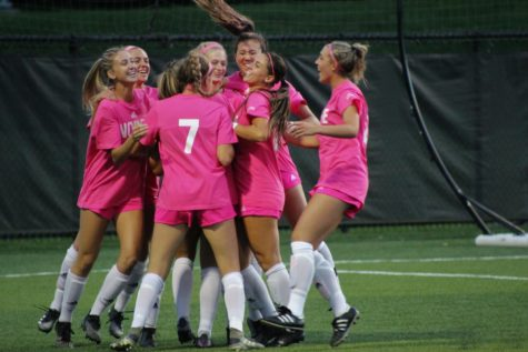 Members of the NKU womens soccer team celebrate a goal in the first half against Purdue Fort Wayne. The Norse defeated the Mastodons 6-2 on Thursday.