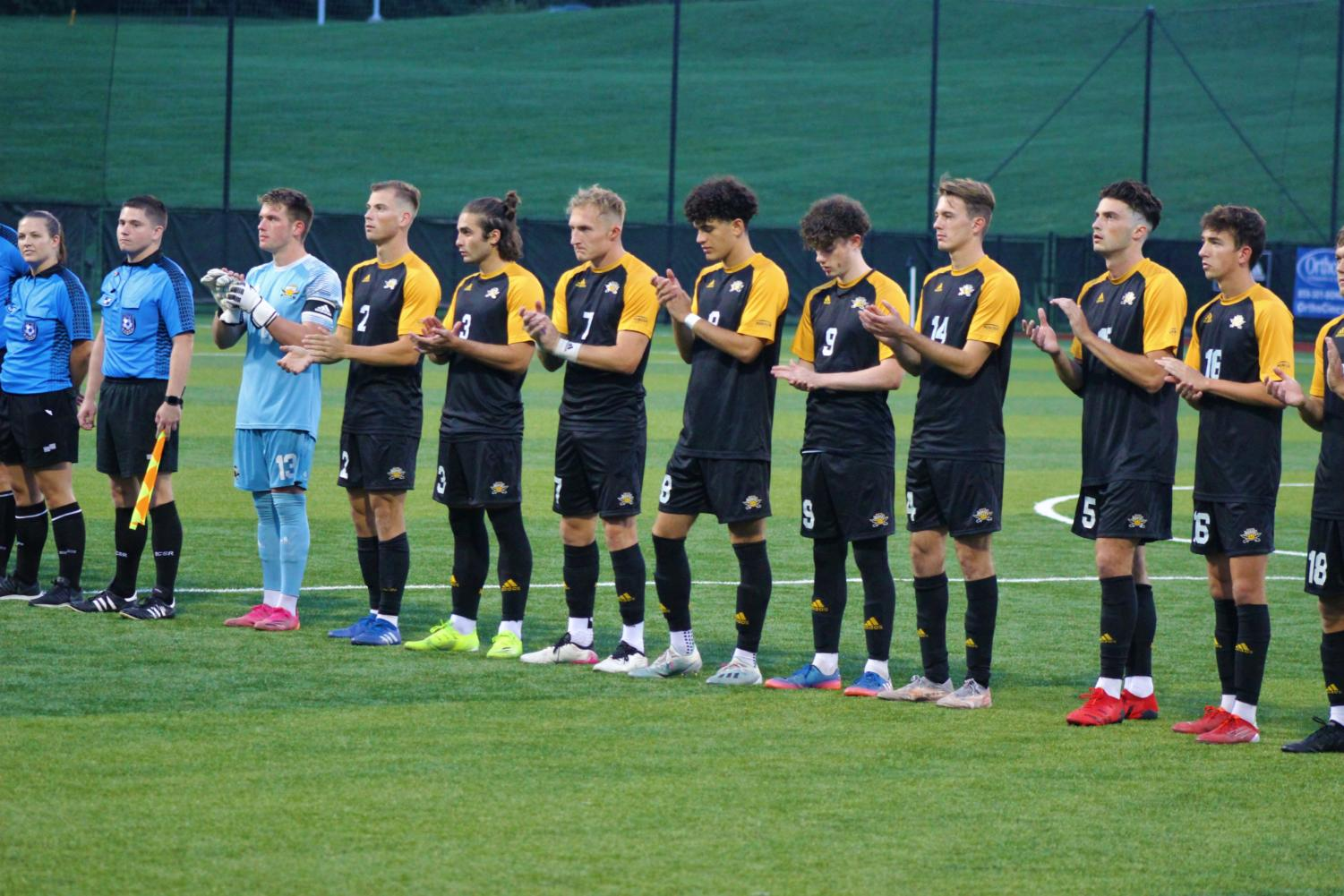 The starters for the NKU mens soccer team are introduced before their match against Detroit Mercy on Saturday.