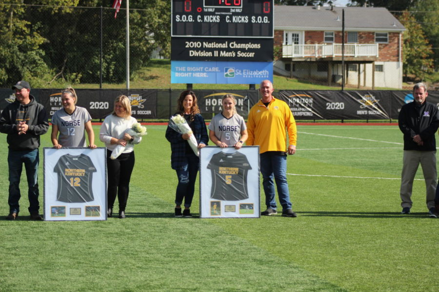 Ashleigh Cronin (5) and Morgan Jewell (12) were among the seven seniors honored on Saturday for Senior day.