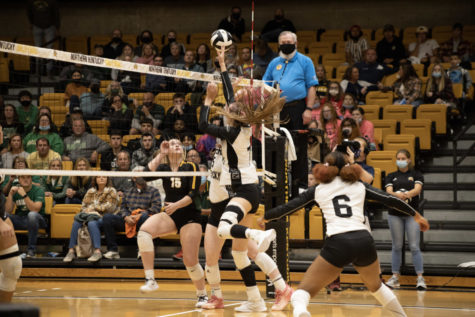 Several NKU players go for the ball during NKUs 3-2 loss to Wright State on Friday.